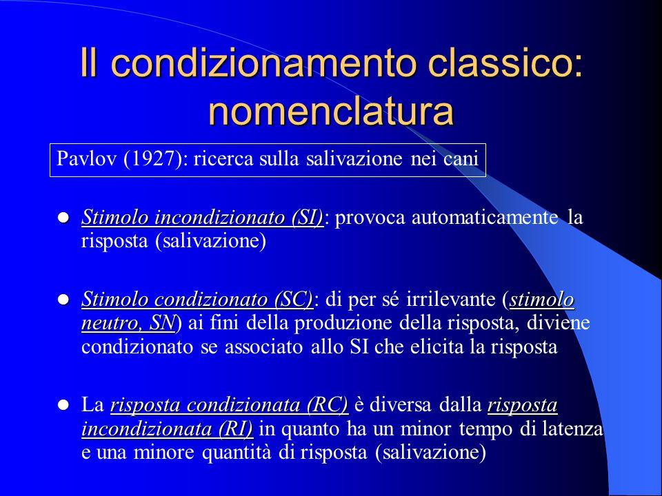 Il condizionamento classico: nomenclatura