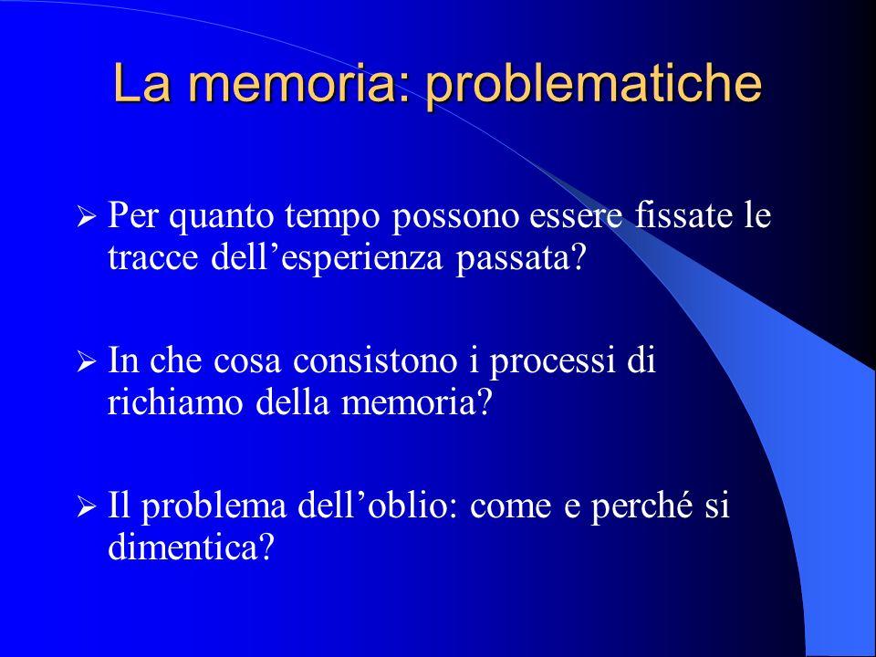 La memoria: problematiche