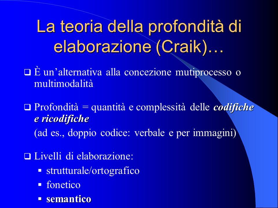 La teoria della profondità di elaborazione (Craik)…