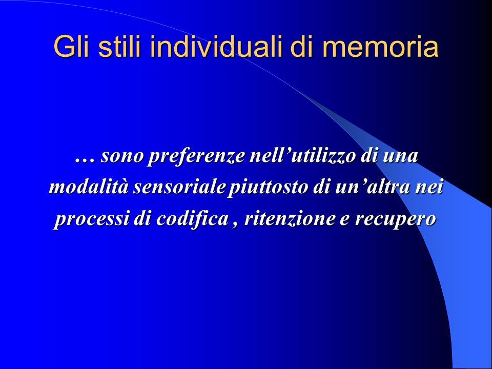 Gli stili individuali di memoria