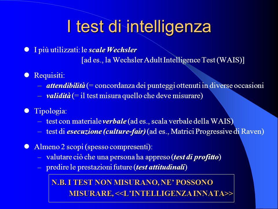 I test di intelligenza I più utilizzati: le scale Wechsler