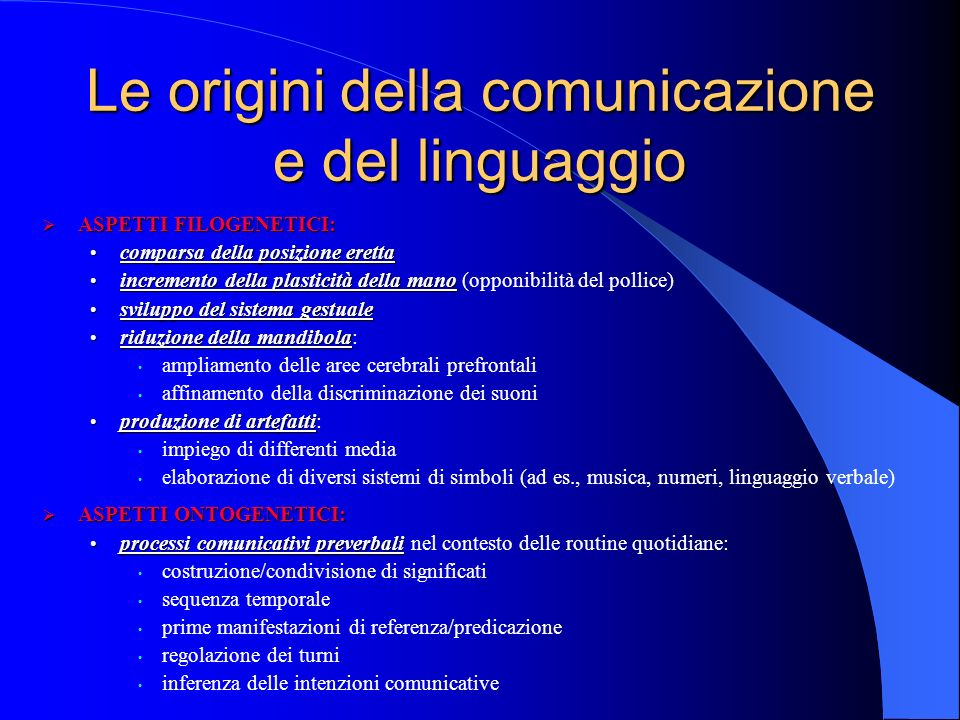 Le origini della comunicazione e del linguaggio