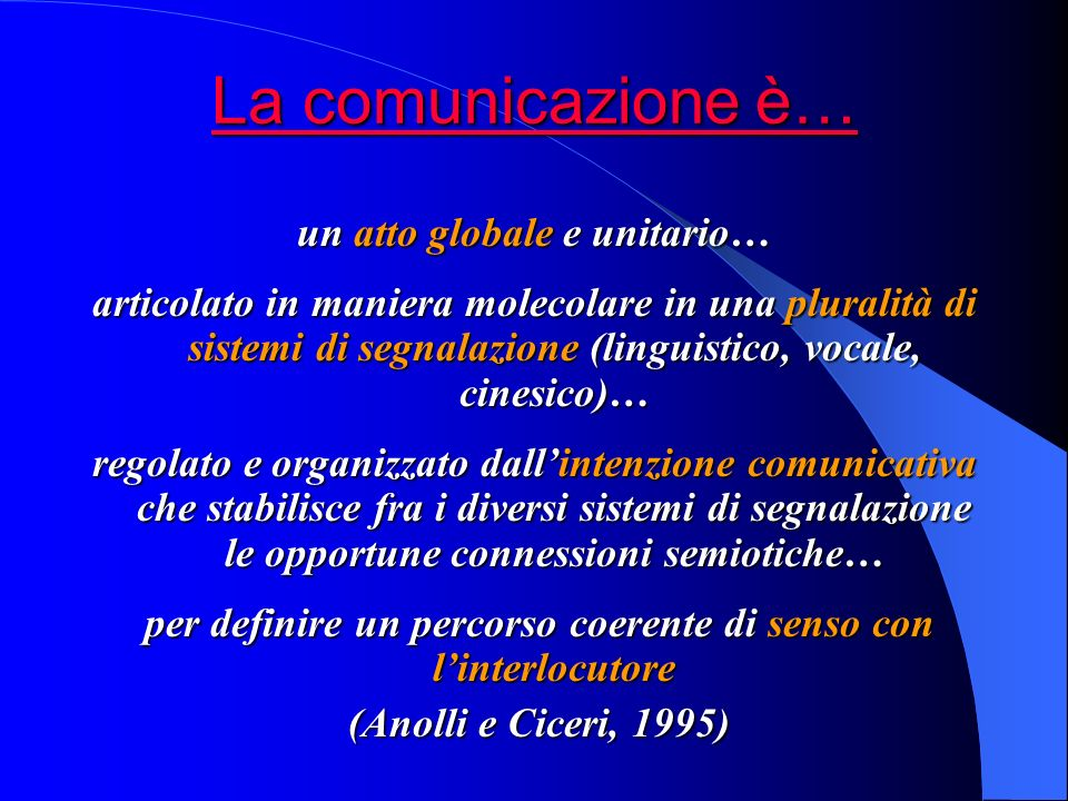 La comunicazione è… un atto globale e unitario…