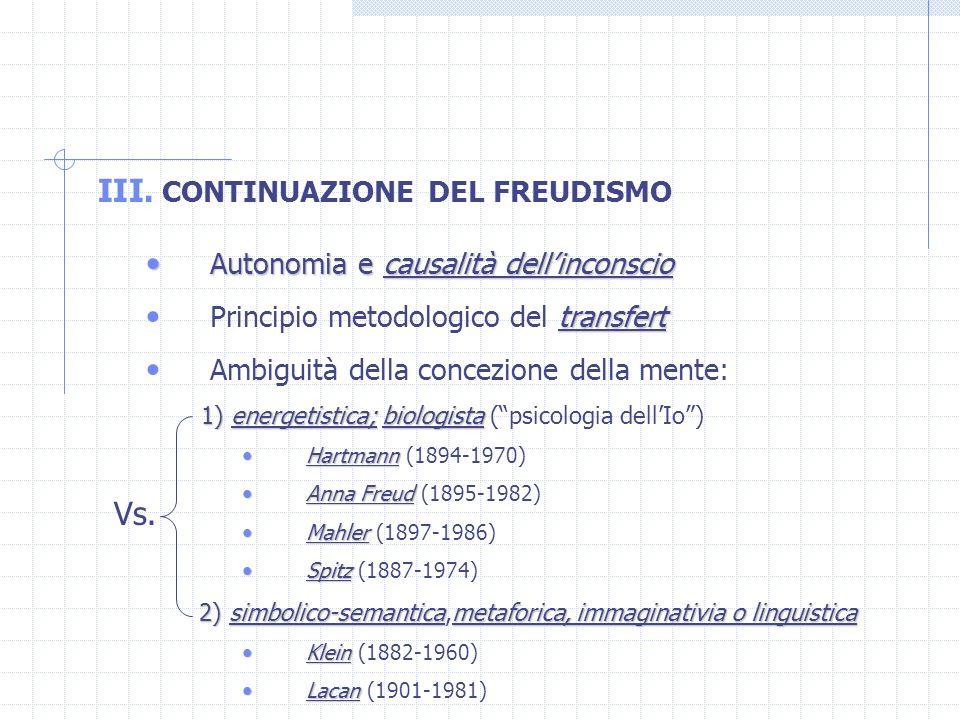 Vs. CONTINUAZIONE DEL FREUDISMO Autonomia e causalità dell'inconscio