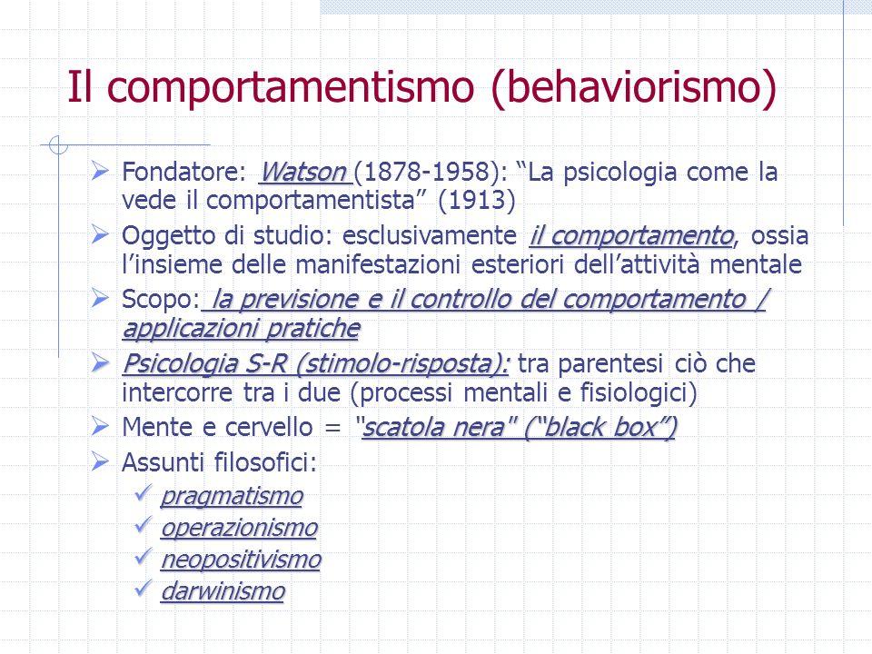 Il comportamentismo (behaviorismo)