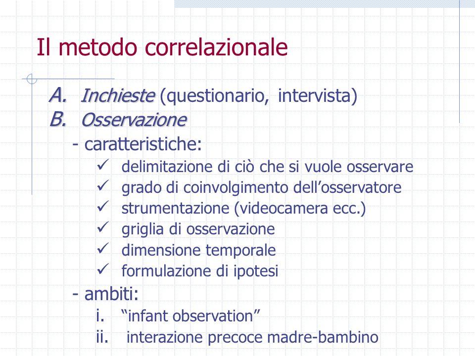Il metodo correlazionale