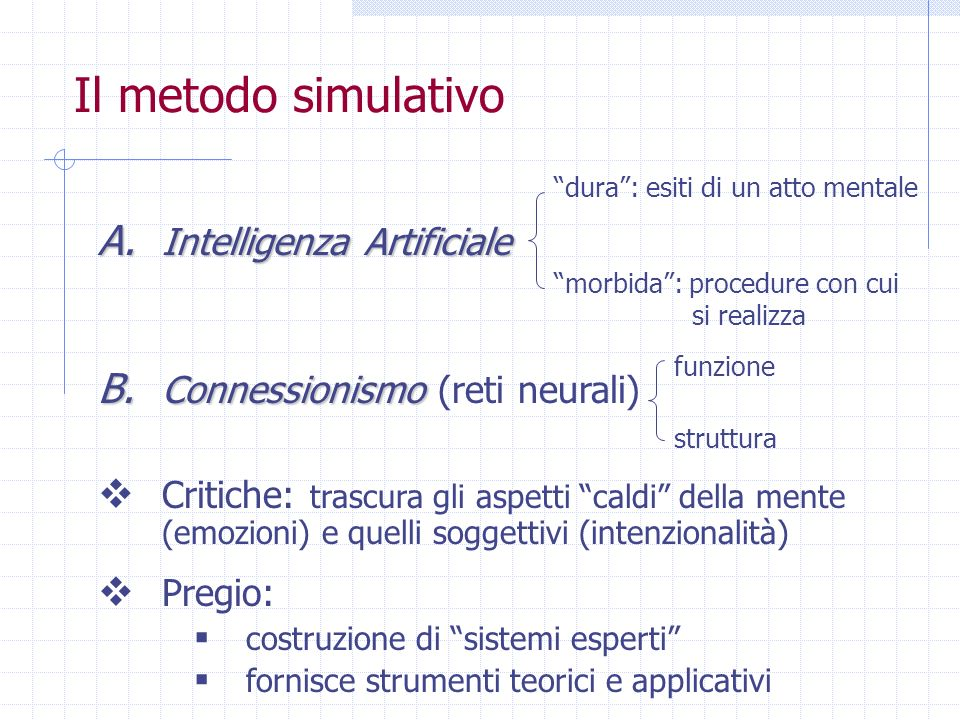 Il metodo simulativo Intelligenza Artificiale