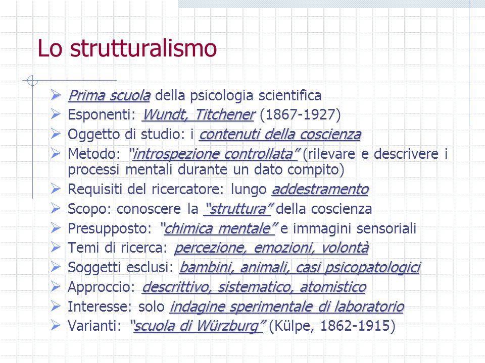 Lo strutturalismo Prima scuola della psicologia scientifica