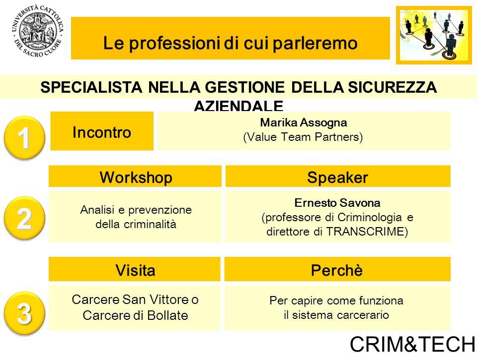 1 2 3 CRIM&TECH Le professioni di cui parleremo