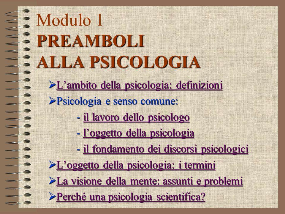 Modulo 1 PREAMBOLI ALLA PSICOLOGIA