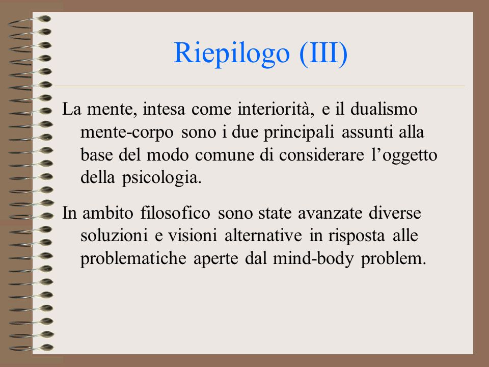 Riepilogo (III)