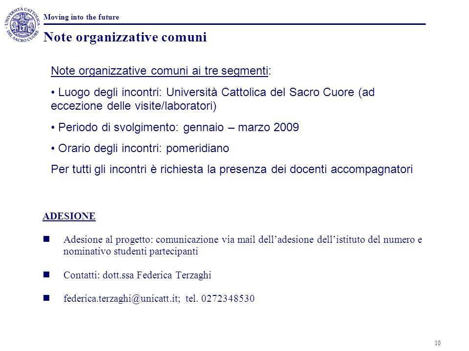 Note organizzative comuni