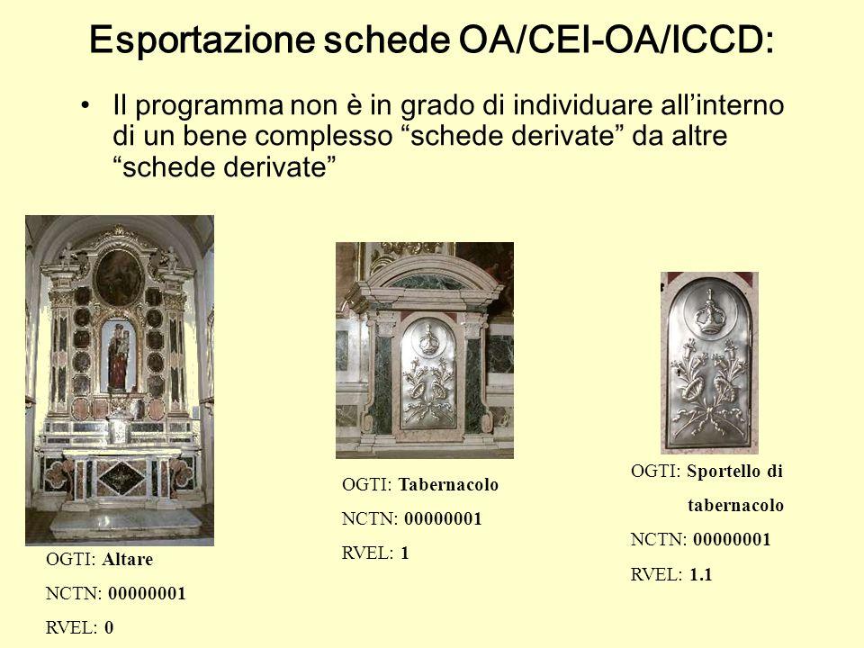 Esportazione schede OA/CEI-OA/ICCD:
