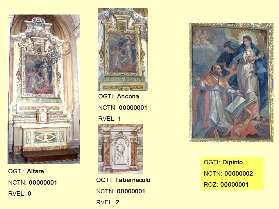 OGTI: Ancona NCTN: 00000001. RVEL: 1. OGTI: Dipinto. NCTN: 00000002. ROZ: 00000001. OGTI: Altare.