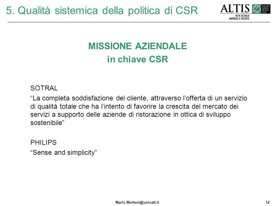 5. Qualità sistemica della politica di CSR