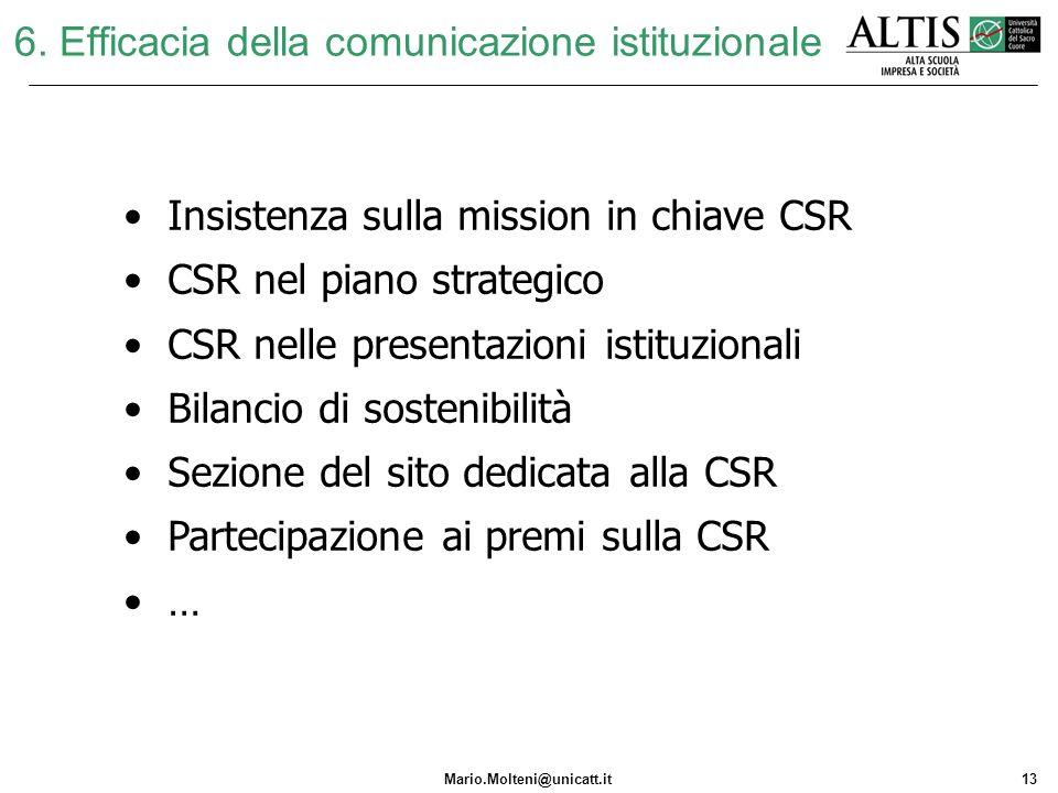 6. Efficacia della comunicazione istituzionale