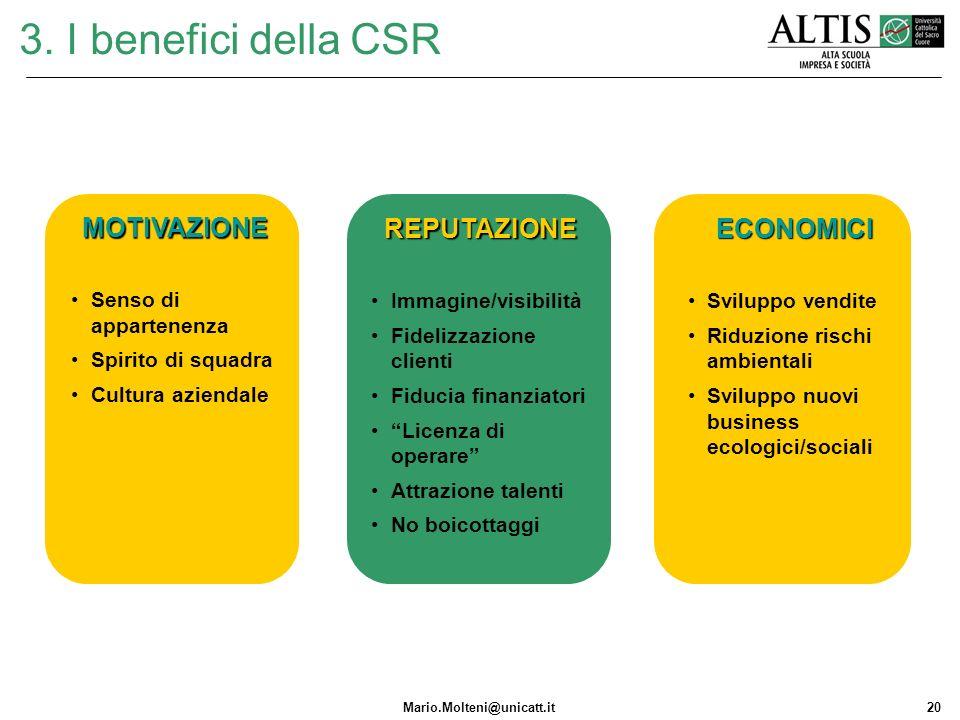 3. I benefici della CSR MOTIVAZIONE REPUTAZIONE ECONOMICI