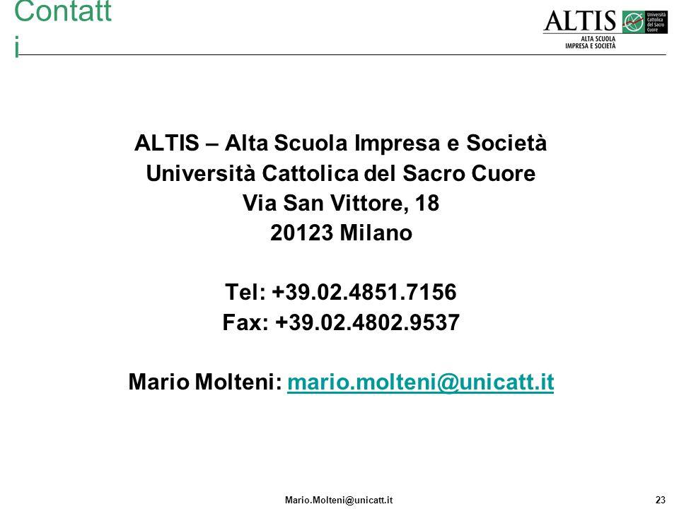 Contatti ALTIS – Alta Scuola Impresa e Società