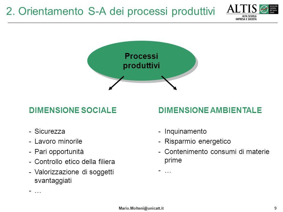 2. Orientamento S-A dei processi produttivi