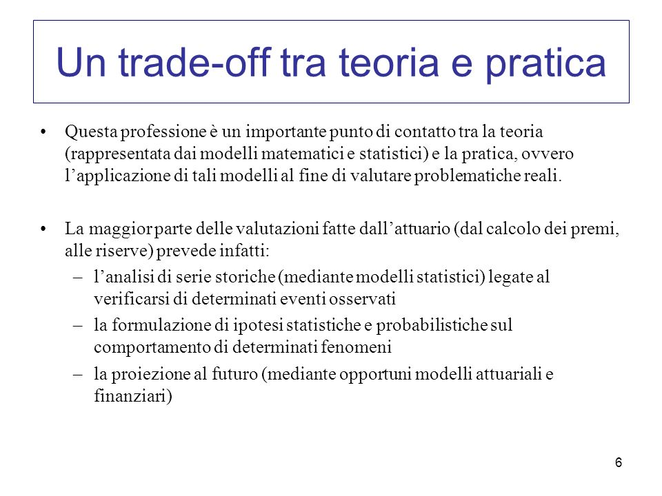 Un trade-off tra teoria e pratica