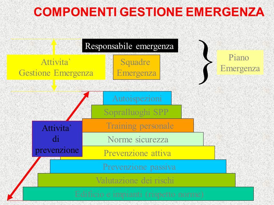 } COMPONENTI GESTIONE EMERGENZA Piano Emergenza Squadre Emergenza