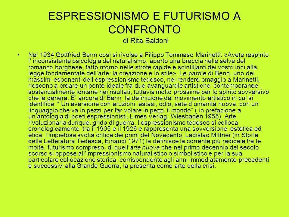 ESPRESSIONISMO E FUTURISMO A CONFRONTO di Rita Baldoni