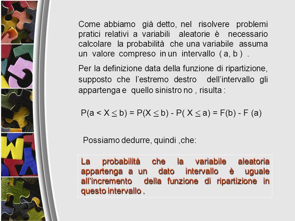 P(a < X b) = P(X b) - P( X a) = F(b) - F (a)