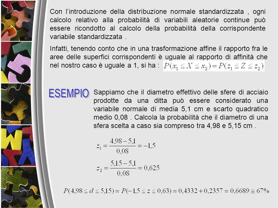 Con l'introduzione della distribuzione normale standardizzata , ogni calcolo relativo alla probabilità di variabili aleatorie continue può essere ricondotto al calcolo della probabilità della corrispondente variabile standardizzata .