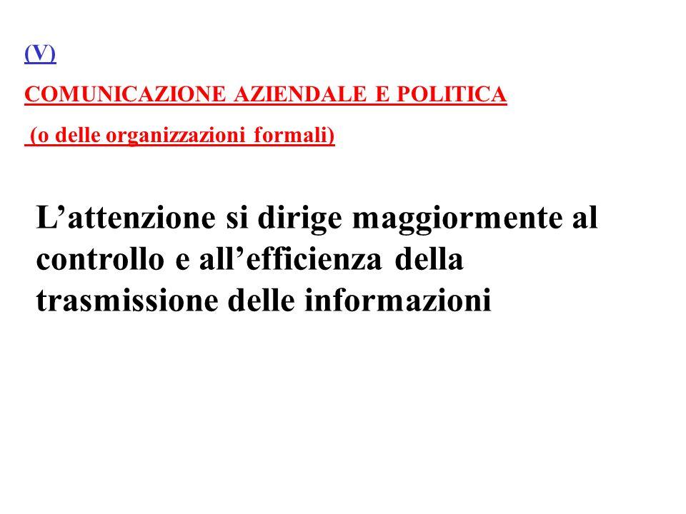 (V) COMUNICAZIONE AZIENDALE E POLITICA. (o delle organizzazioni formali)