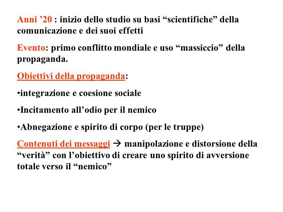 Anni '20 : inizio dello studio su basi scientifiche della comunicazione e dei suoi effetti