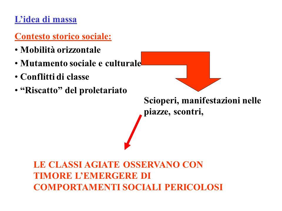 L'idea di massa Contesto storico sociale: Mobilità orizzontale. Mutamento sociale e culturale. Conflitti di classe.