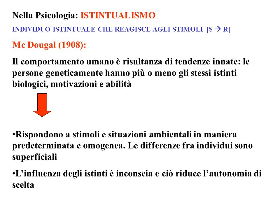 Nella Psicologia: ISTINTUALISMO Mc Dougal (1908):