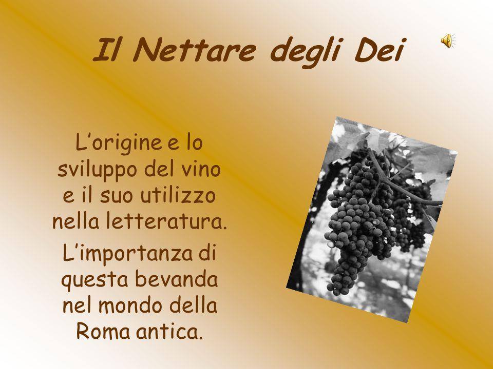 Il Nettare degli Dei L'origine e lo sviluppo del vino e il suo utilizzo nella letteratura.