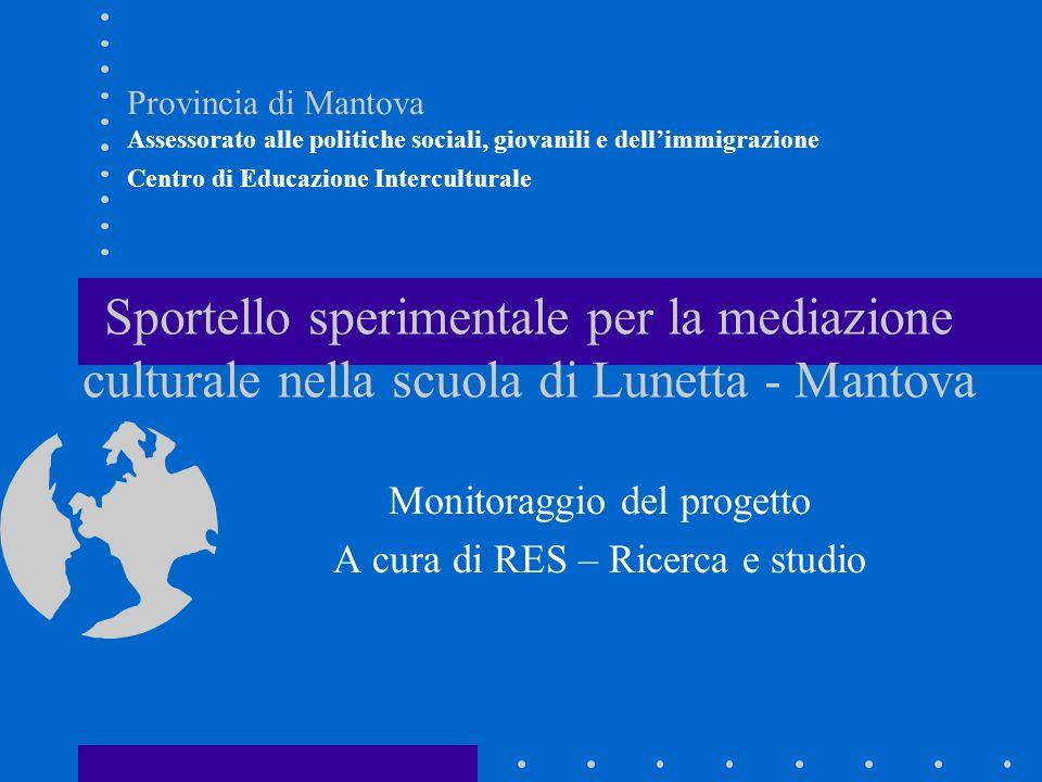 Monitoraggio del progetto A cura di RES – Ricerca e studio