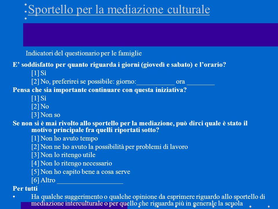 Sportello per la mediazione culturale