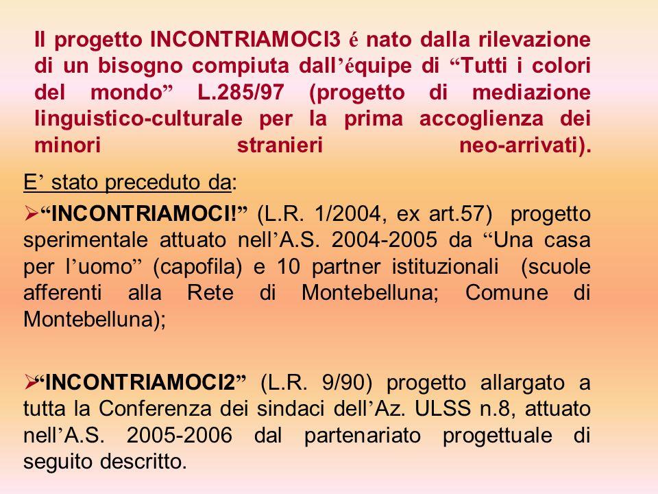 Il progetto INCONTRIAMOCI3 é nato dalla rilevazione di un bisogno compiuta dall'équipe di Tutti i colori del mondo L.285/97 (progetto di mediazione linguistico-culturale per la prima accoglienza dei minori stranieri neo-arrivati).