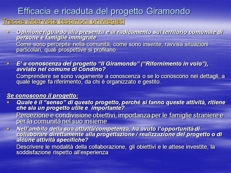 Efficacia e ricaduta del progetto Giramondo