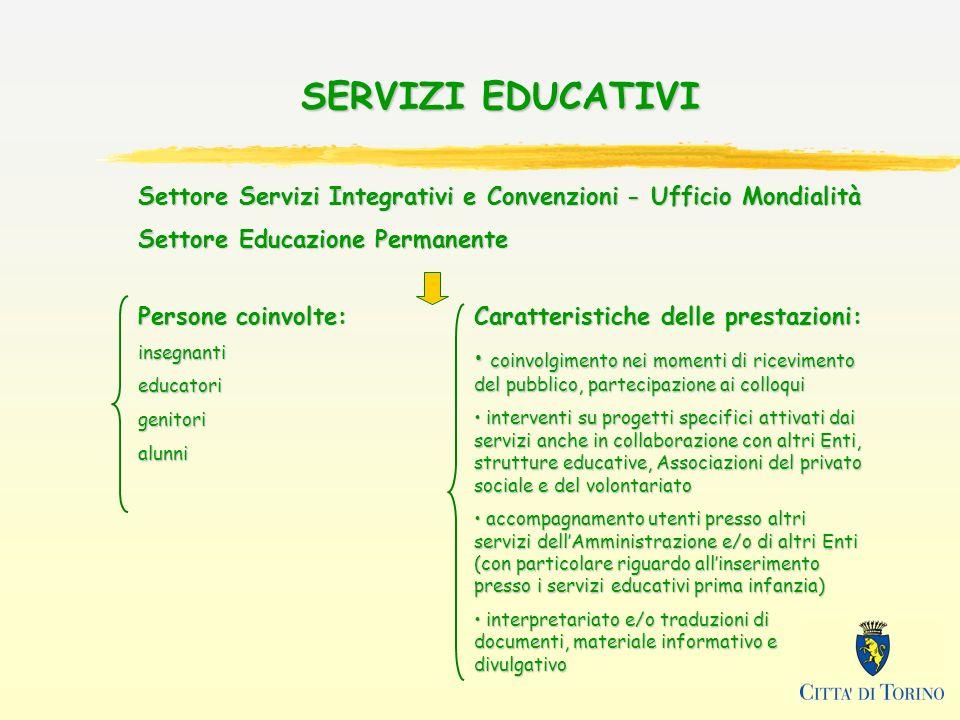 SERVIZI EDUCATIVI Settore Servizi Integrativi e Convenzioni - Ufficio Mondialità. Settore Educazione Permanente.