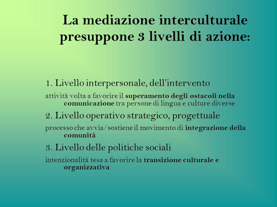 La mediazione interculturale presuppone 3 livelli di azione: