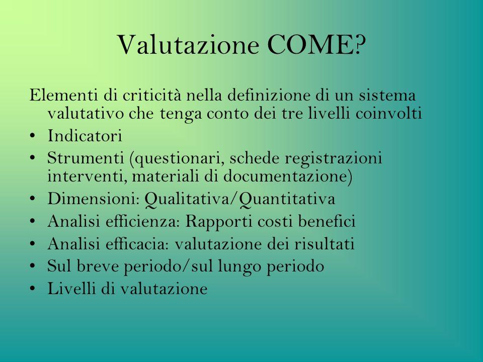 Valutazione COME Elementi di criticità nella definizione di un sistema valutativo che tenga conto dei tre livelli coinvolti.