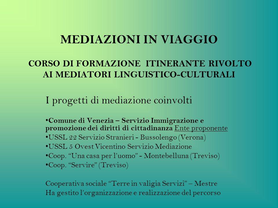 MEDIAZIONI IN VIAGGIO CORSO DI FORMAZIONE ITINERANTE RIVOLTO AI MEDIATORI LINGUISTICO-CULTURALI