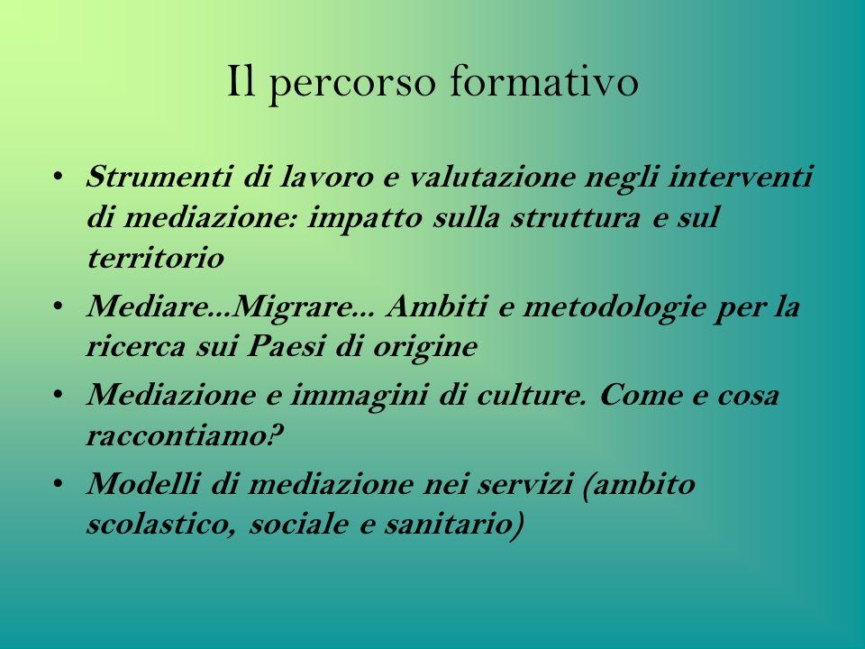 Il percorso formativoStrumenti di lavoro e valutazione negli interventi di mediazione: impatto sulla struttura e sul territorio.