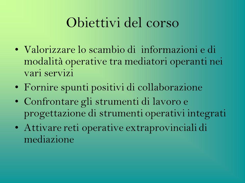 Obiettivi del corso Valorizzare lo scambio di informazioni e di modalità operative tra mediatori operanti nei vari servizi.