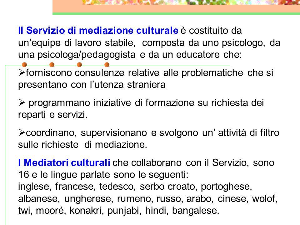 Il Servizio di mediazione culturale è costituito da un'equipe di lavoro stabile, composta da uno psicologo, da una psicologa/pedagogista e da un educatore che:
