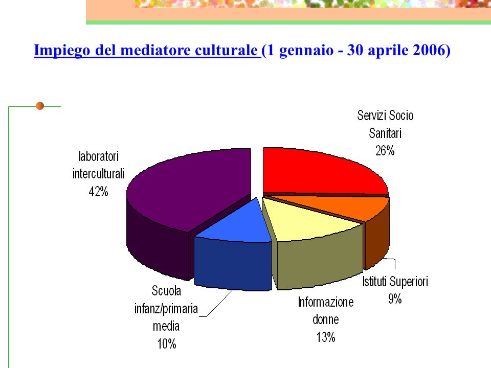 Impiego del mediatore culturale (1 gennaio - 30 aprile 2006)