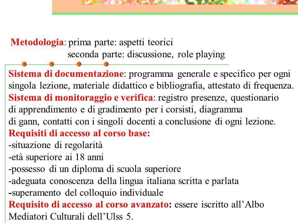 Metodologia: prima parte: aspetti teorici