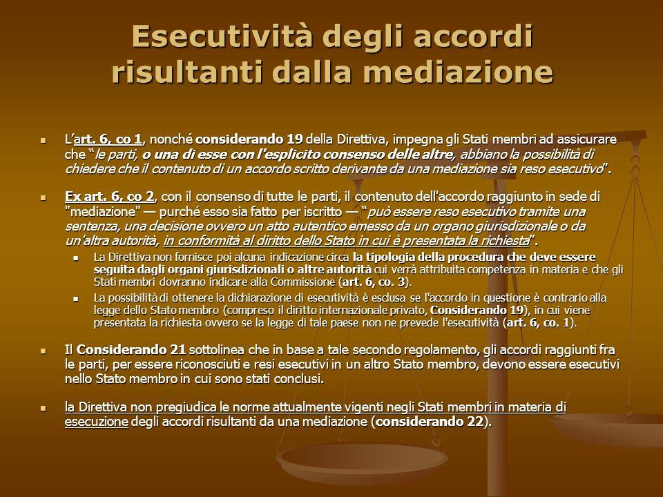 Esecutività degli accordi risultanti dalla mediazione