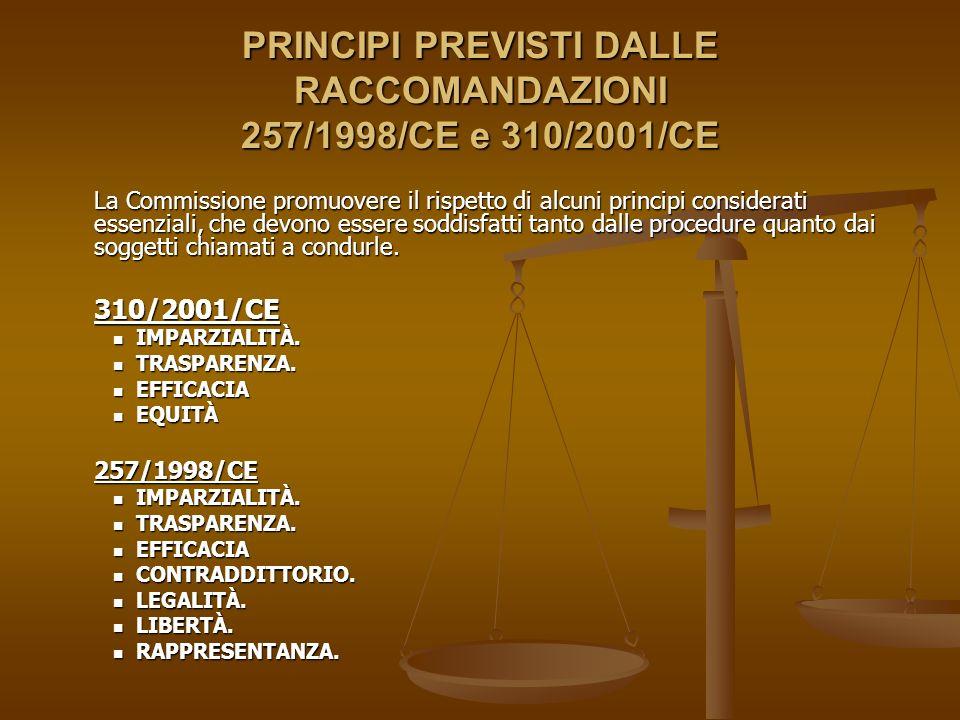 PRINCIPI PREVISTI DALLE RACCOMANDAZIONI 257/1998/CE e 310/2001/CE