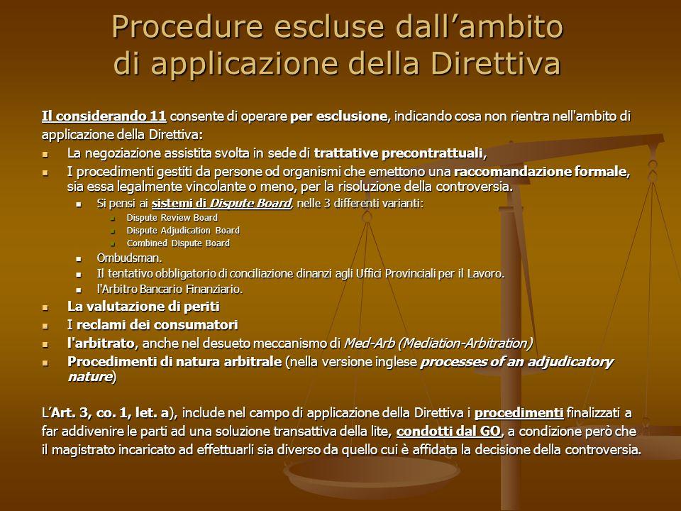 Procedure escluse dall'ambito di applicazione della Direttiva