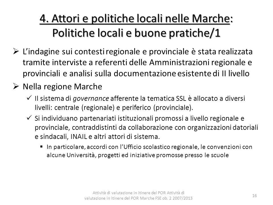 4. Attori e politiche locali nelle Marche: Politiche locali e buone pratiche/1